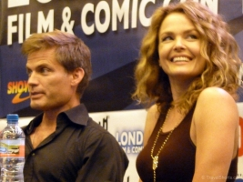 Dina Meyer and Casper Van Dien during Starship Troopers talk at London Film and Comic Con 2014 06