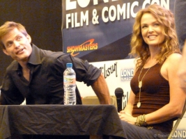 Dina Meyer and Casper Van Dien during Starship Troopers talk at London Film and Comic Con 2014 09