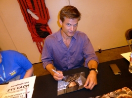 Casper Van Dien signing autograph at London Film and Comic Con 2014