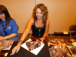 Dina Meyer signing autograph at London Film and Comic Con 2014